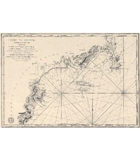 Le Golfe de la Napoule et le Gourjean ou Golfe Juan,  avec les îles des Lérins