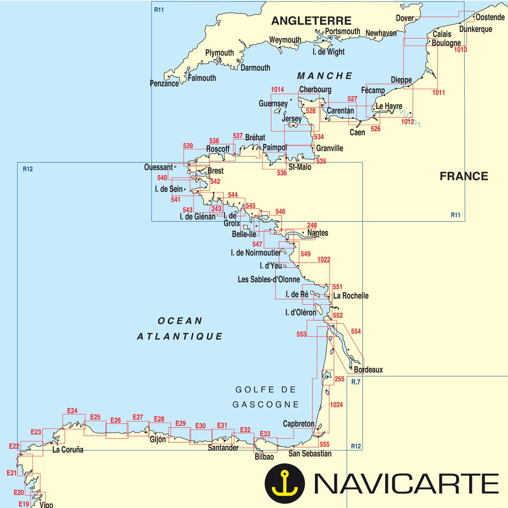 carte de france cote atlantique