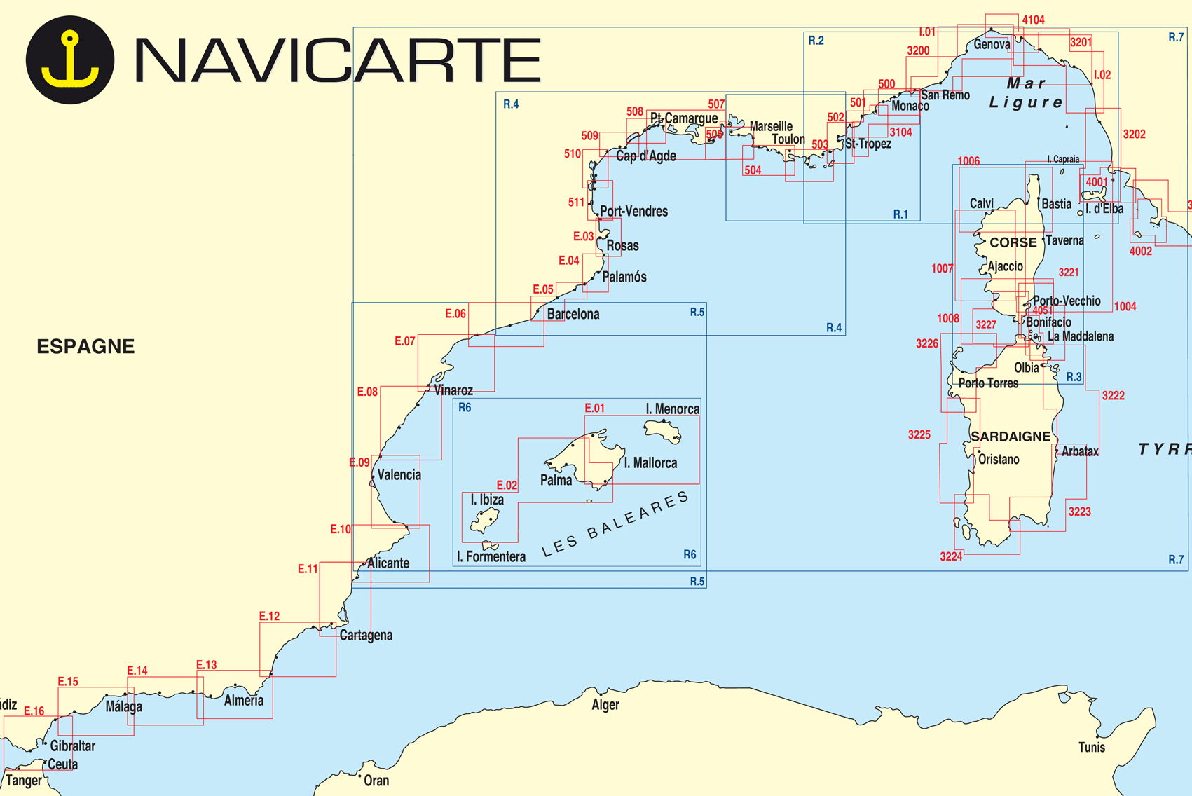 Carte marine navicarte méditerranée et Corse   carte marine papier