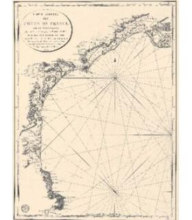 Carte réduite des côtes de France  sur la Méditerranée.  Depuis le Cap de Creux jusqu'aux  Bouches du Rhône