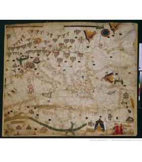 Carte-marine--de-la-mer-Méditerranée-et-de-la-mer-Noire