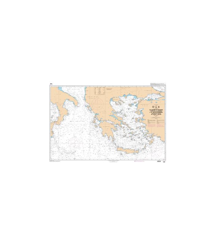 Carte marine Shom 7338   Mer Ionienne et Mer Egée   Carte marine Sh